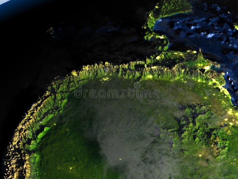 Floresta úmida das Amazonas na terra - chão do oceano visível ilustração do vetor
