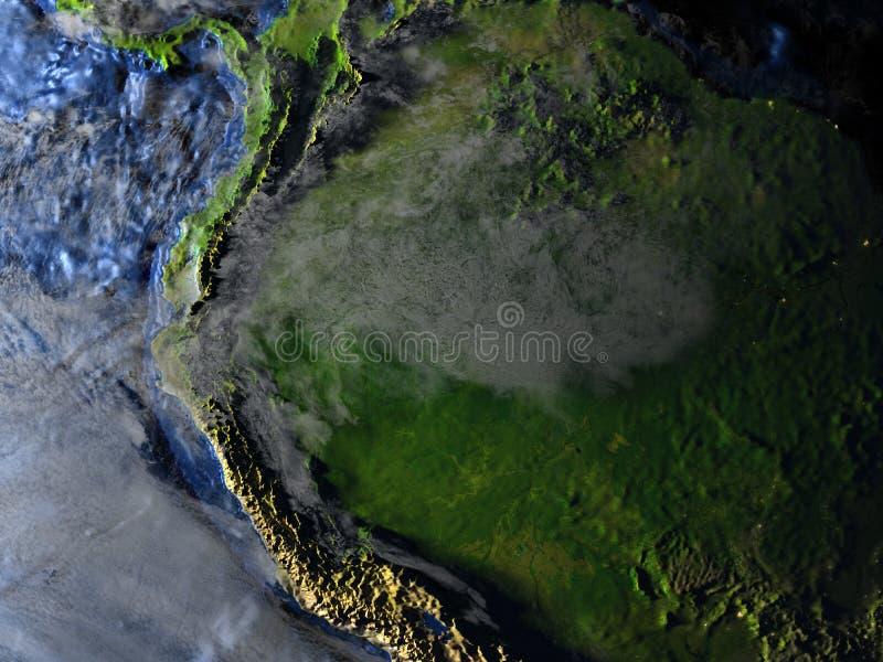 Floresta úmida das Amazonas na terra - chão do oceano visível ilustração royalty free
