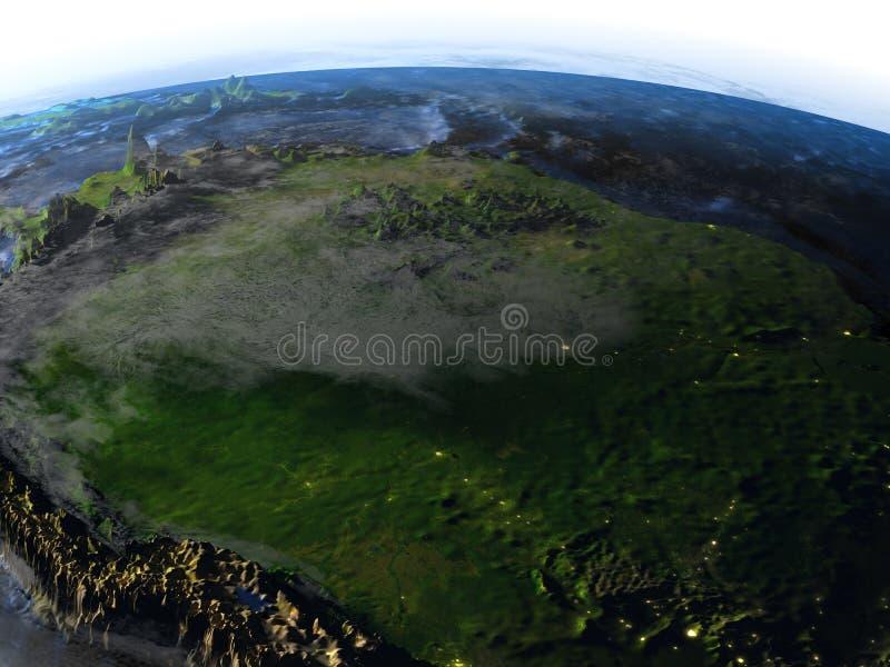 Floresta úmida das Amazonas na terra - chão do oceano visível ilustração stock