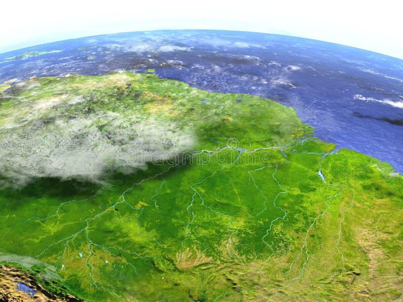 Floresta úmida das Amazonas no modelo realístico da terra ilustração stock