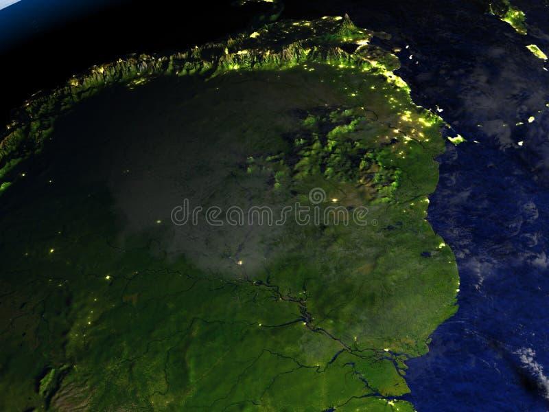 Floresta úmida das Amazonas no modelo realístico da terra ilustração royalty free