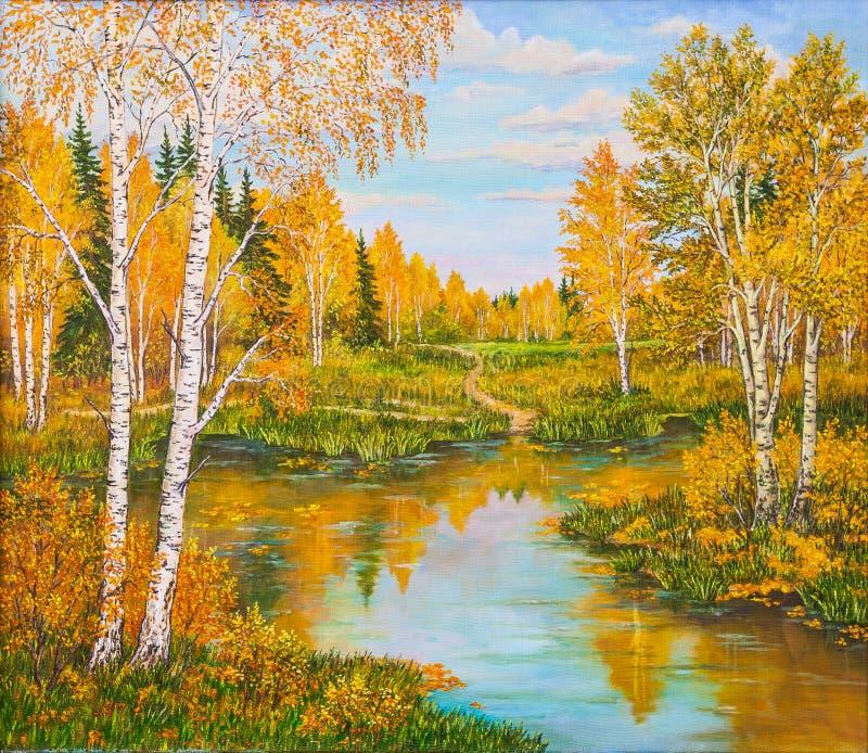 Floresta alaranjada perto do lago no dia ensolarado Árvores da paisagem, do pinho e de vidoeiro, grama verde na costa de um rio R fotografia de stock