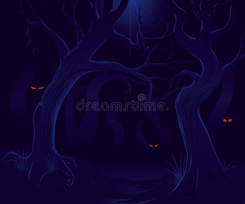Floresta assustador na noite ilustração stock