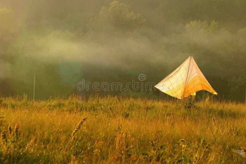 Floresta, campo, névoa da manhã e toldo amarelo fotos de stock royalty free
