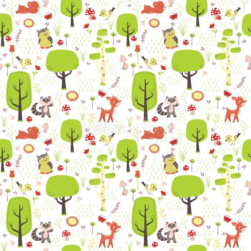 Floresta com árvores, animais, flores, cogumelos e o teste padrão sem emenda da natureza da grama isolado na ilustração lisa bran ilustração do vetor