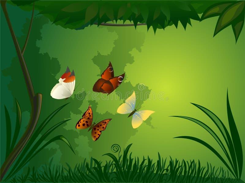 Floresta com borboleta ilustração royalty free