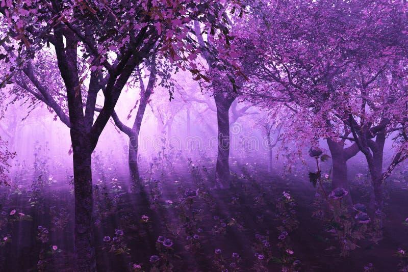 Floresta da alfazema ilustração do vetor