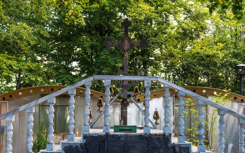 Floresta da cruz da trindade santamente, a cruz mágica do metal foto de stock