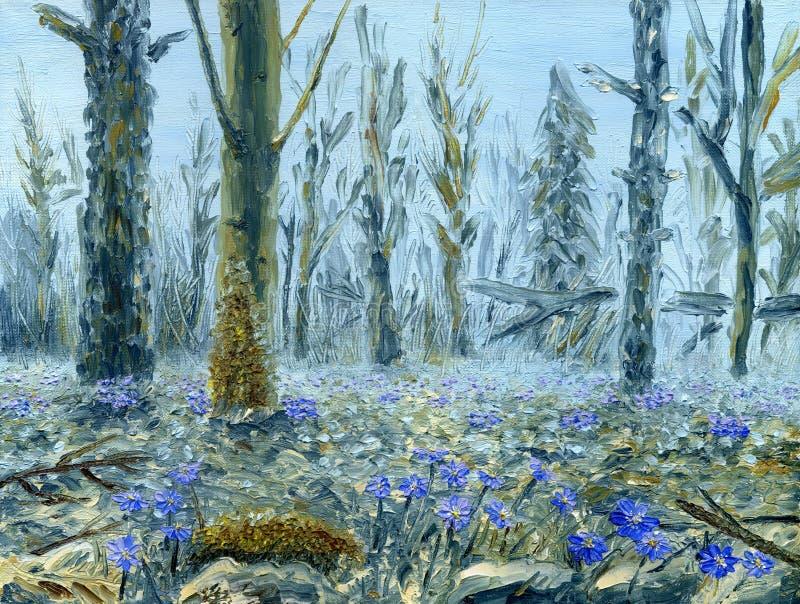 Floresta da mola com lotes de flores azuis Pintura a óleo na lona ilustração royalty free