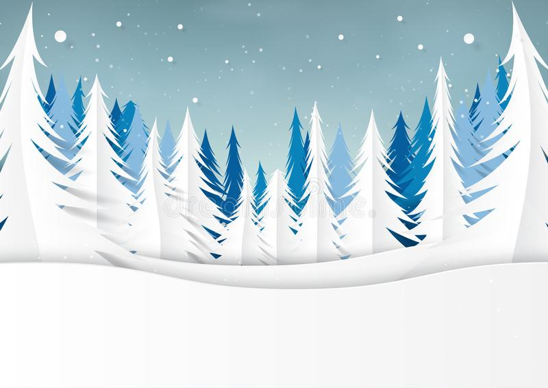 Floresta da neve e do pinho no fundo da paisagem da estação do inverno ilustração royalty free