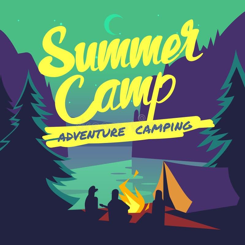A floresta da noite com verão do luar e da fogueira aventura-se o cartaz de acampamento do vetor ilustração do vetor
