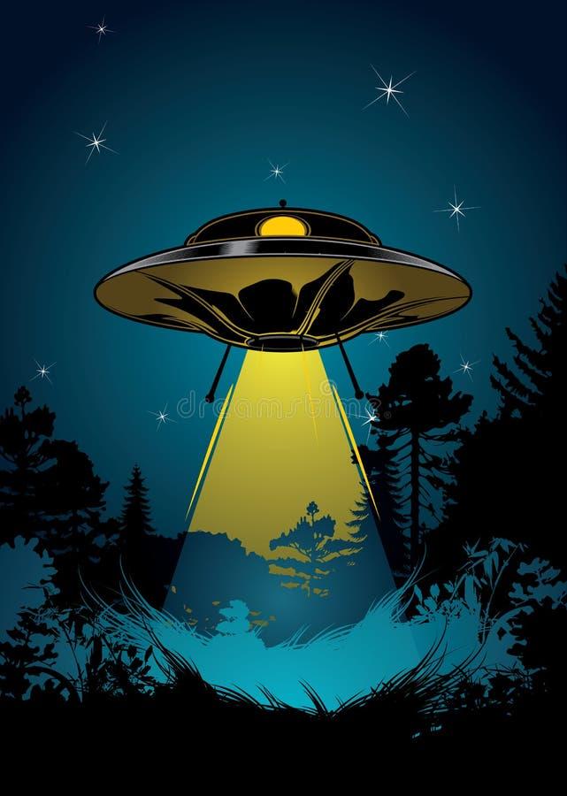 Floresta da noite com voo do UFO ilustração stock