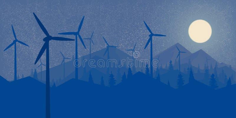 Floresta da noite das energias eólicas dos moinhos de vento e a paisagem grande do papel de parede da Lua cheia das montanhas ao  ilustração do vetor