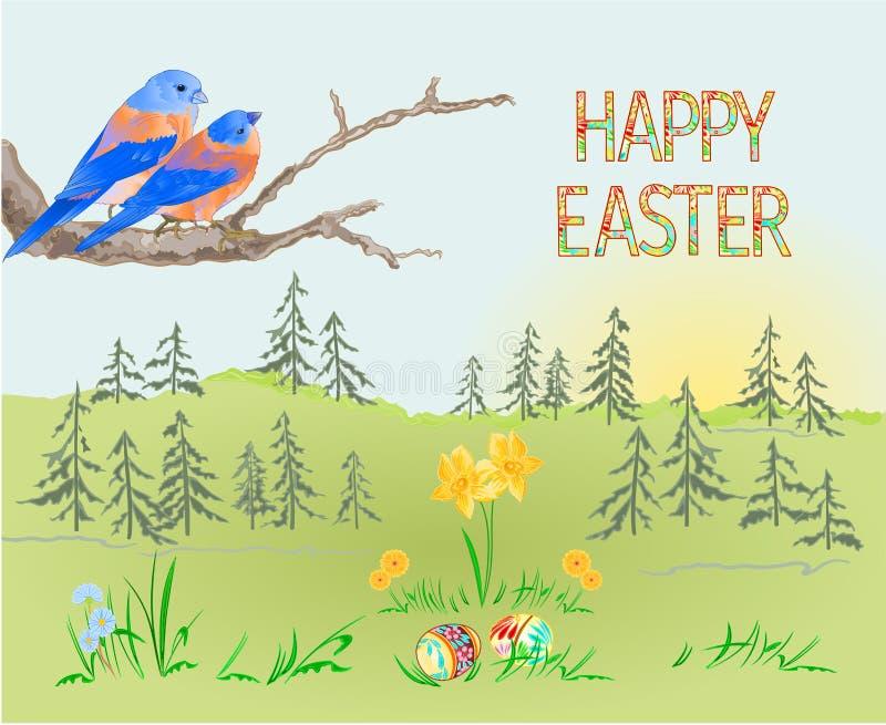 Floresta da paisagem da mola da Páscoa e azulão-americano e ovos da páscoa dos pássaros na grama com editabl da ilustração do vet ilustração do vetor