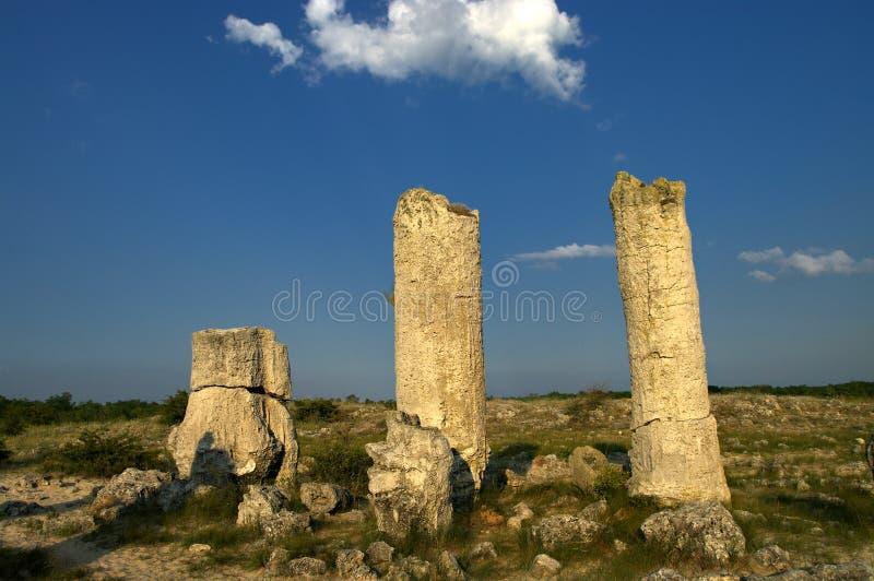 Floresta da pedra do fenômeno da natureza, kamani de Bulgária/Pobiti/ fotografia de stock
