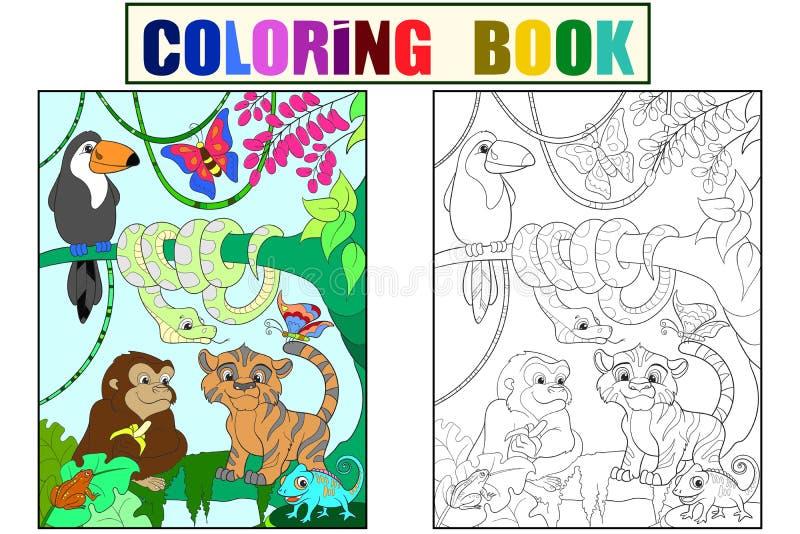 Floresta da selva com ilustração do vetor dos desenhos animados dos animais ilustração stock