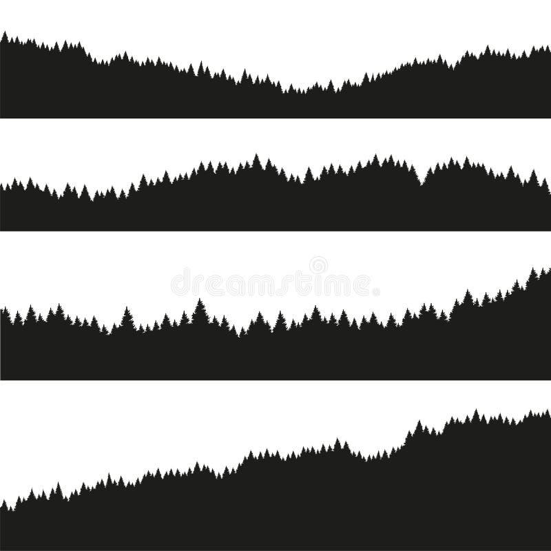 Floresta da silhueta dos abeto do Natal ilustração stock