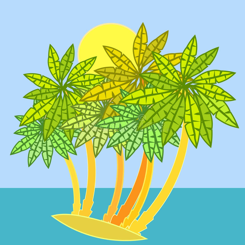 Floresta das palmeiras na ilha Ilustração do vetor ilustração do vetor