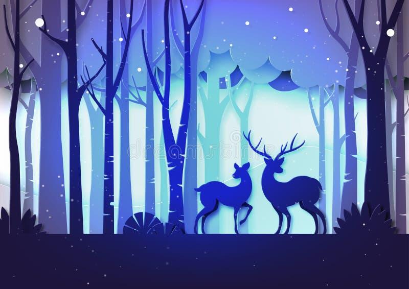 Floresta do conceito da paisagem e do Natal da estação do inverno e animais selvagens dos cervos no estilo roxo da arte do papel  ilustração stock
