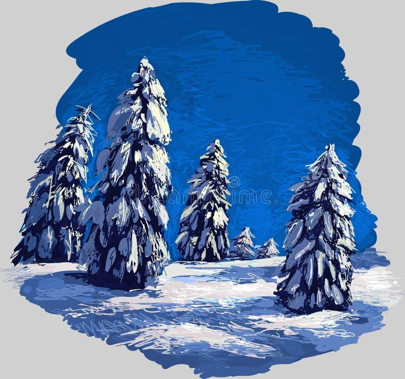 Floresta do inverno ilustração royalty free