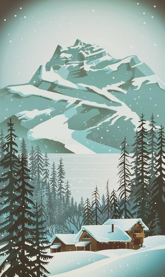 Floresta do inverno com árvores ilustração do vetor
