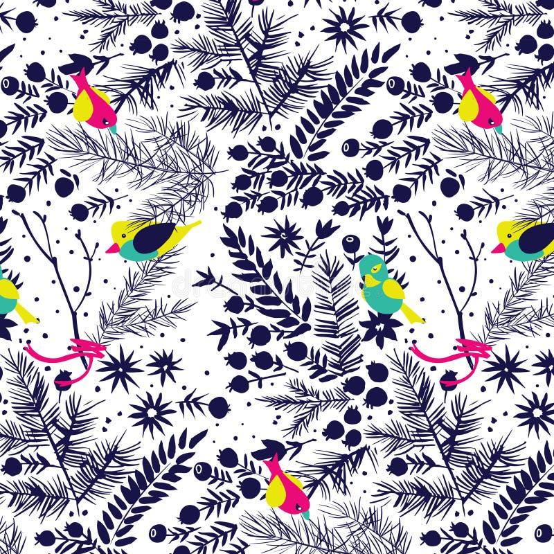 Floresta do inverno com teste padrão dos pássaros ilustração royalty free
