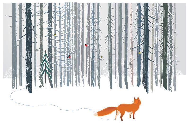 Floresta do inverno e Fox ilustração do vetor