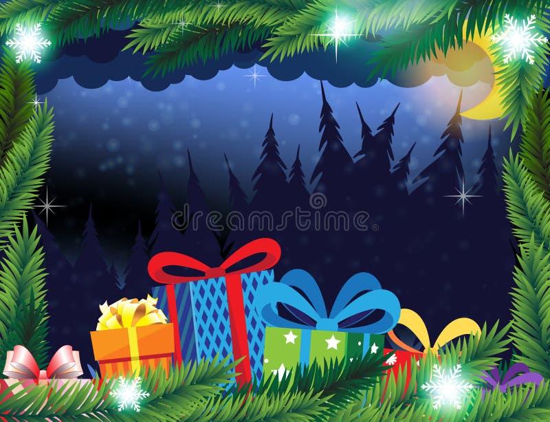 Floresta do inverno e presentes de Natal ilustração stock