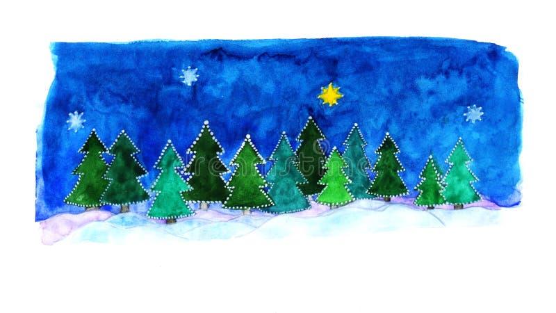 Floresta do inverno para o Natal foto de stock