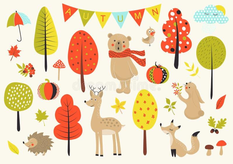 Floresta do outono no vetor ajustado com os animais bonitos, as folhas, os cogumelos e as árvores da floresta no estilo dos desen ilustração stock