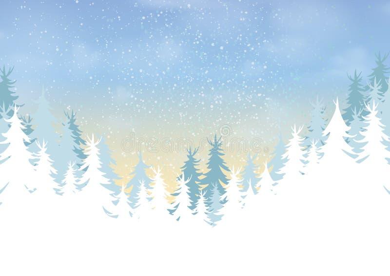 Floresta do pinho no fundo da paisagem da estação do inverno ilustração royalty free