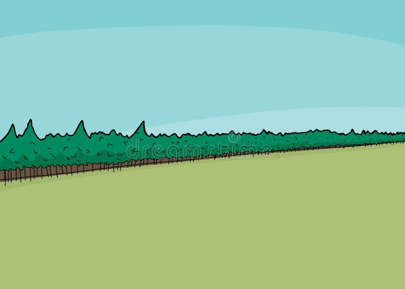 Floresta e campo ilustração royalty free