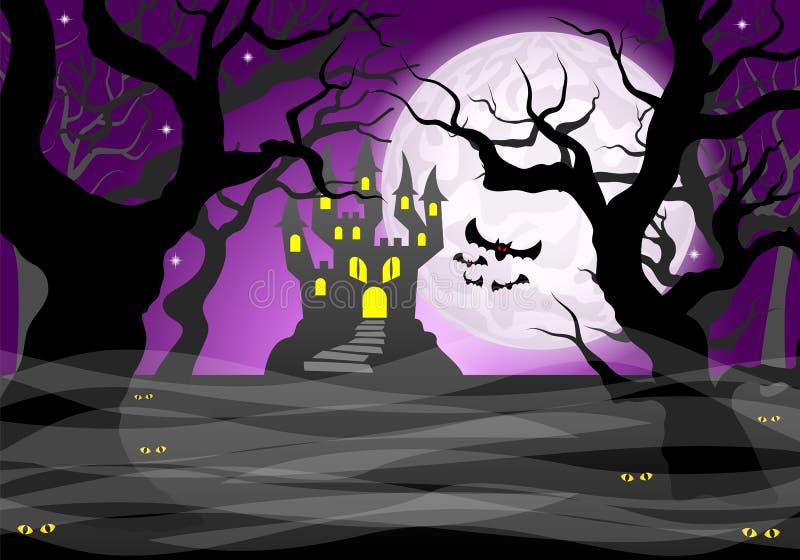 Floresta e Lua cheia espectrais escuras ilustração stock