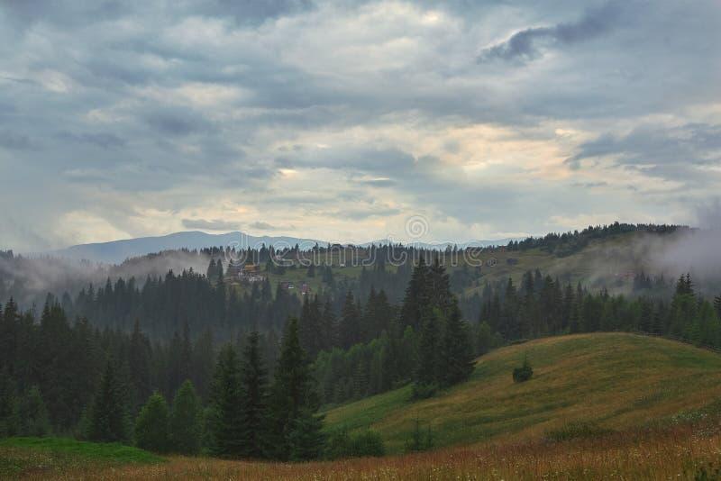 A floresta e a montanha Carpathian ajardinam com casas pequenas fotos de stock