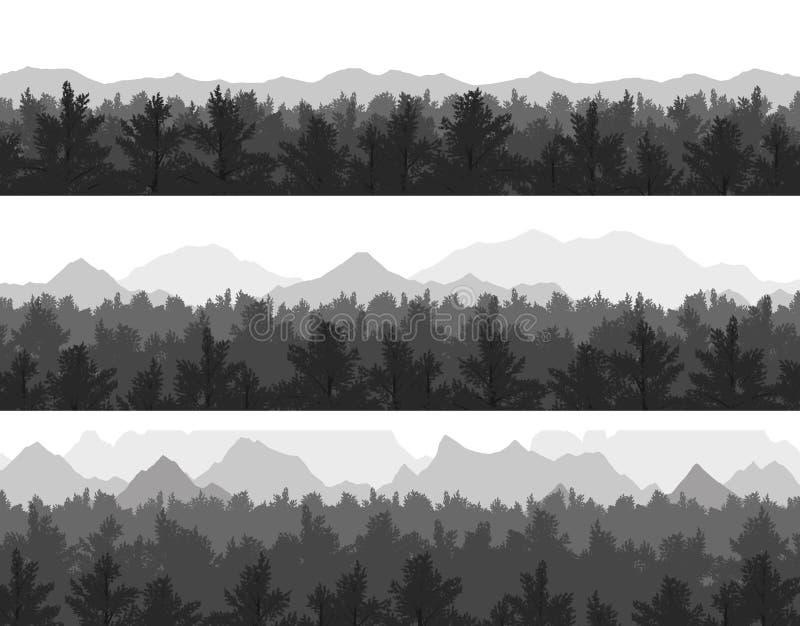 Floresta e montanhas ajustadas fotografia de stock royalty free