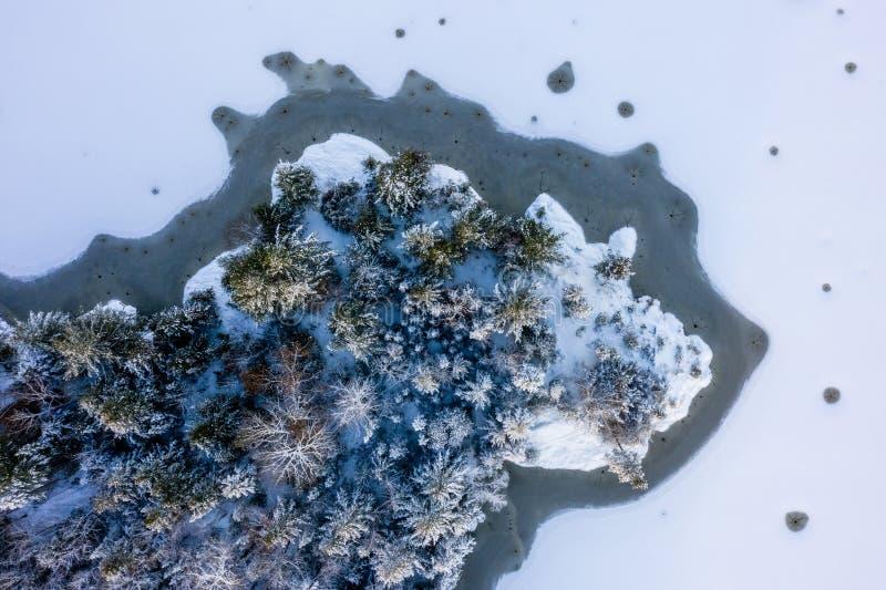 Floresta e rocha cercadas congelando o lago foto de stock