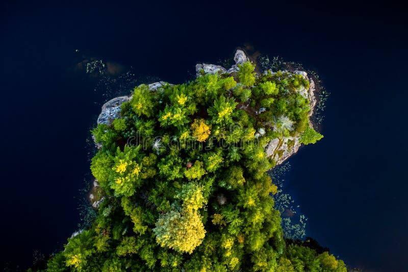 Floresta e rocha cercadas pelo lago fotos de stock royalty free