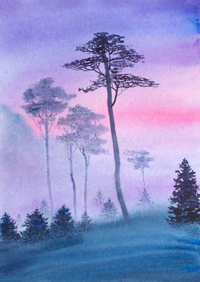 Floresta enevoada antes do alvorecer ilustração stock