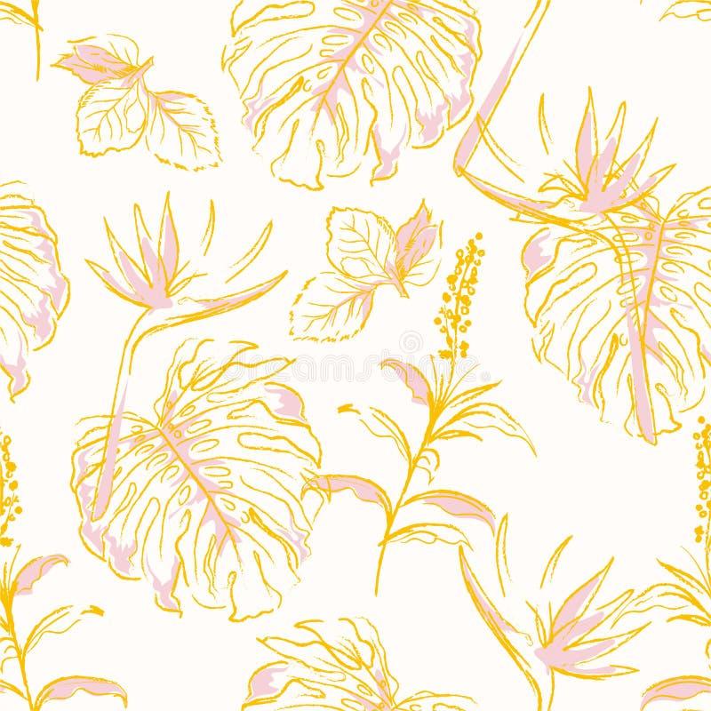 A floresta exótica do teste padrão sem emenda moderno básico do vinatge de RGBSweet no vetor com folhas de palmeira e na garatuja ilustração do vetor