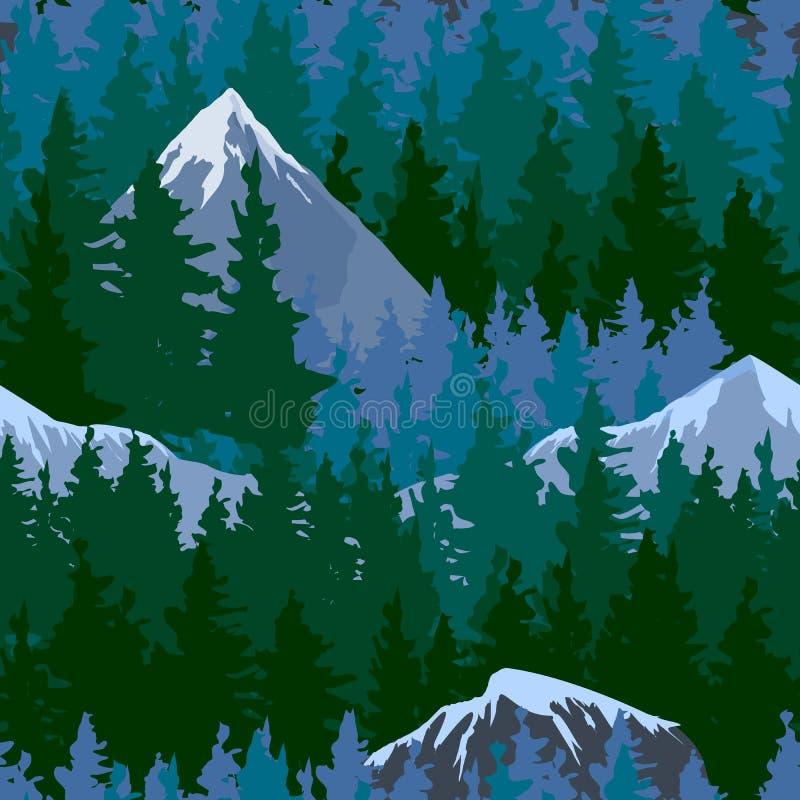 Floresta exterior da montanha do curso da árvore do abeto vermelho natural conífero do pinho das partes superiores da silhueta do ilustração do vetor
