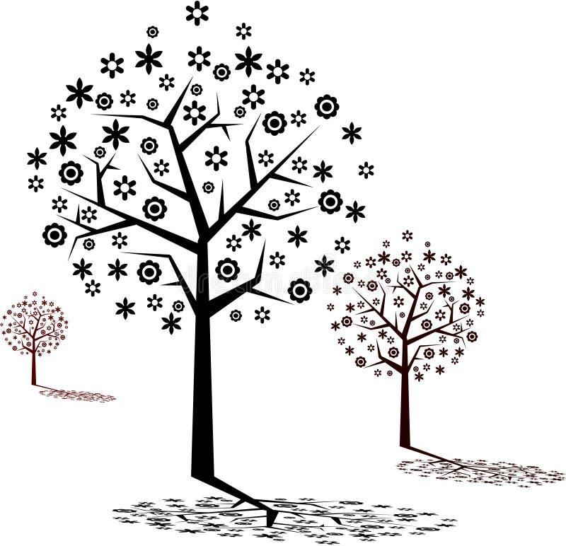 Floresta floral com silhueta   ilustração do vetor
