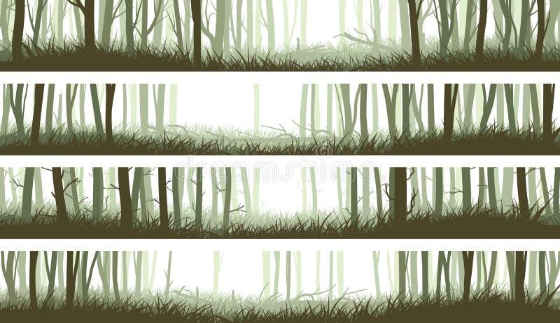 Floresta horizontal das bandeiras com troncos e esclarecimento nas madeiras ilustração stock