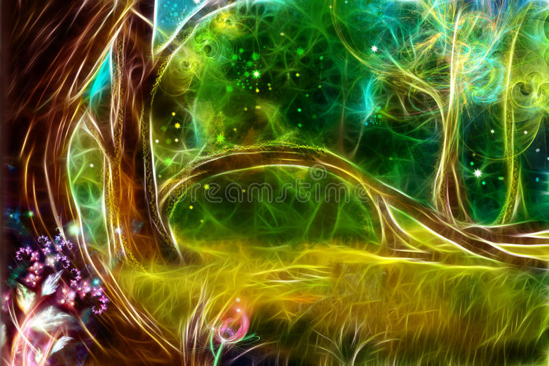 A floresta mágica ilustração royalty free