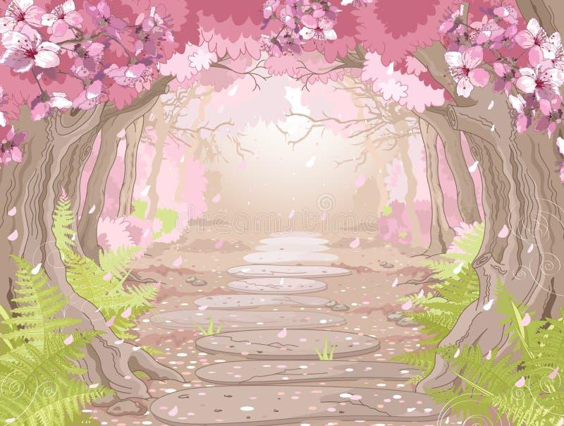 Floresta mágica da mola ilustração royalty free