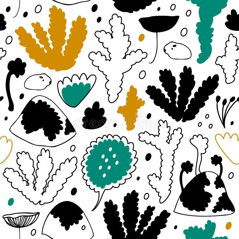 Floresta nórdica do inverno, teste padrão sem emenda escandinavo do vetor Fundo decorativo do cosiness ilustração do vetor