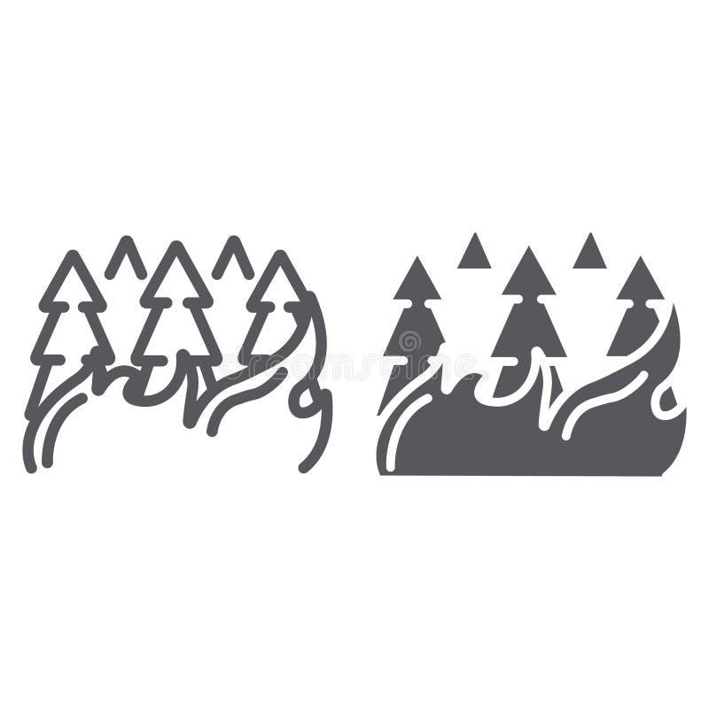 A floresta na linha de fogo e no ícone do glyph, a queimadura e o desastre, árvores ardentes assinam, os gráficos de vetor, um te ilustração do vetor