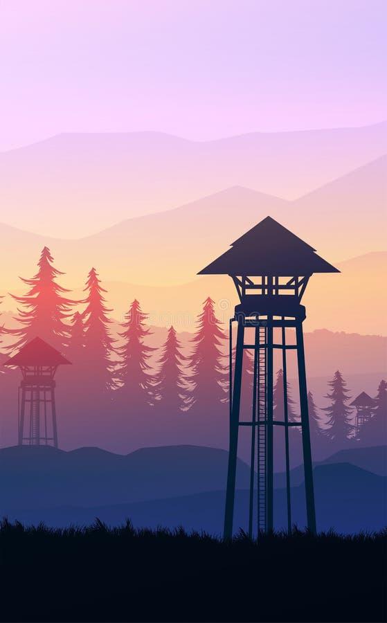 Floresta natural Montanhas da floresta de pinheiros naturais Horizonte Parede Paisagem Sunrise e sunset Estilo do vetor Ilustraçã ilustração do vetor