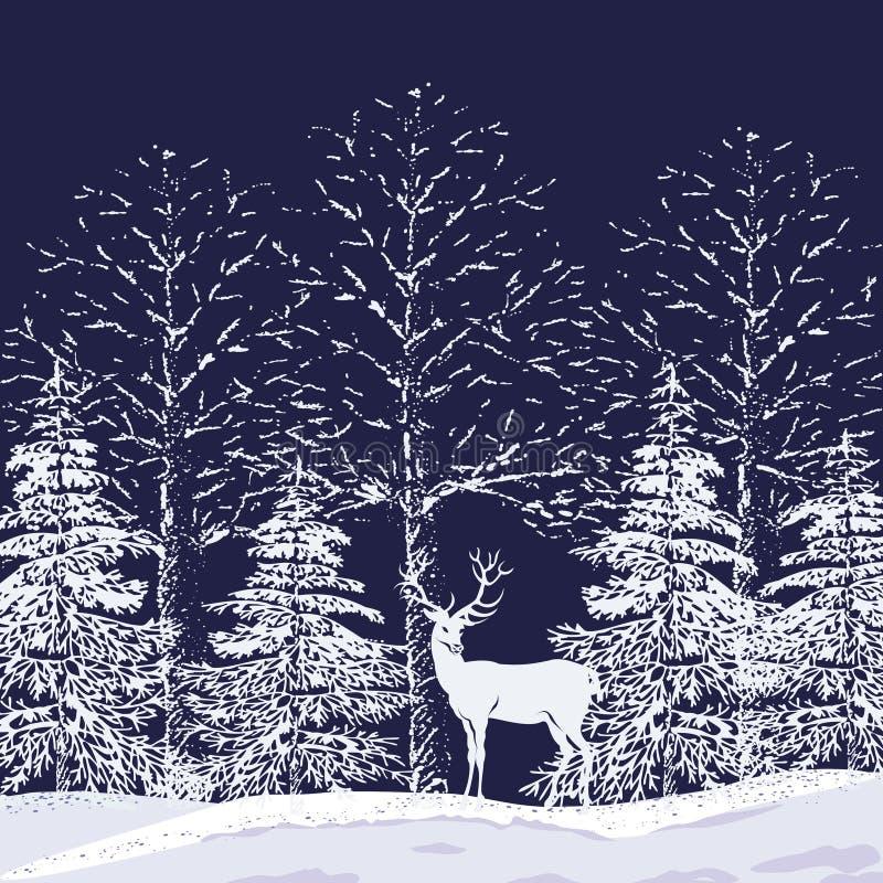 Floresta nevado ilustração royalty free