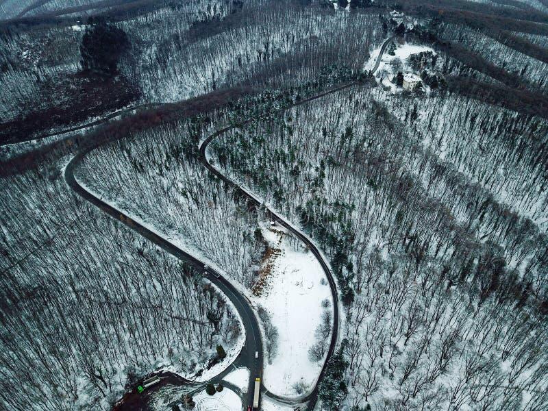 Floresta nevado e estrada Vista aérea de um zangão imagem de stock royalty free