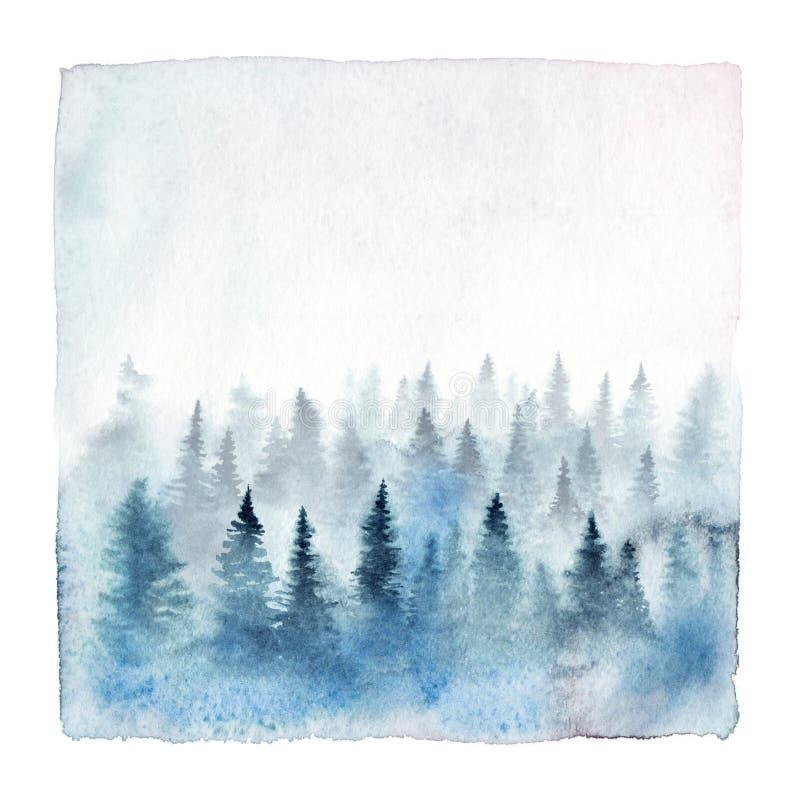 Floresta nevoenta da aquarela ilustração do vetor